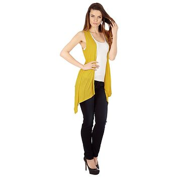 Mustard Color Sleveless Cardigan