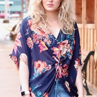 Reversible Floral Knot Top {Navy}