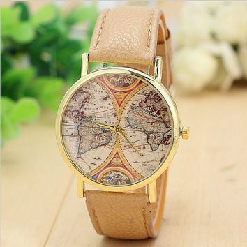 World map, Map Watch, Vintage World Map Antique Map Watch World Map, Ladies Watch