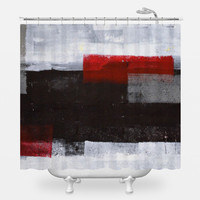 Red Over Black Shower Curtain