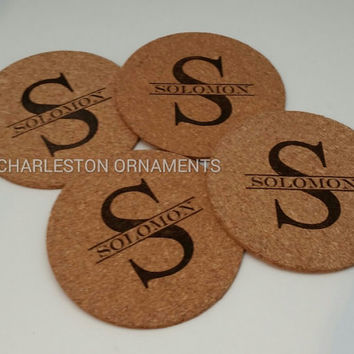 Set of 4 Cork Coasters, Unique Coasters, Personalized Coasters, Custom Coasters, Custom Kitchen Accessories, Eco-Friendly Gift