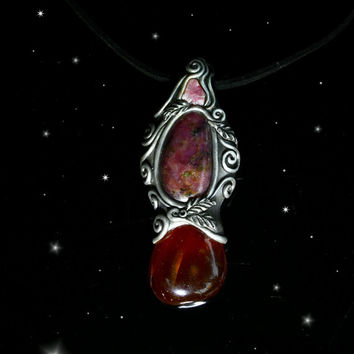 Ruby gemstone pendant Carnelian stone Pink Tourmaline crystal mystic faerie magic powerful wicca elvish bohemian boho pixie spiritual