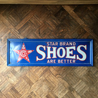 Authentic Star Brand Shoes Tin Lithograph Sign, Excellent Condition, Large Metal Star Brand Shoes Sign