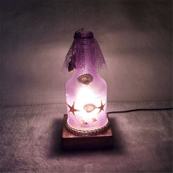 New Quality Night Light Creative Romantic Ocean Style Bottle Table Lamp