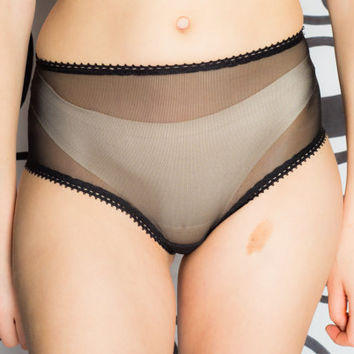 Sheer High Waisted Panties - Black
