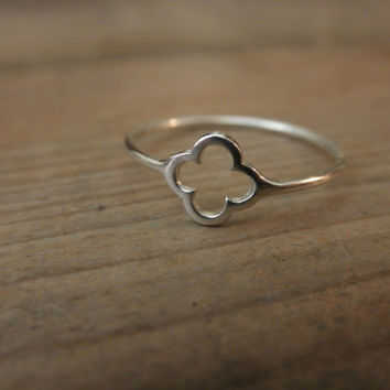 Tiny Clover sterling  silver   ring