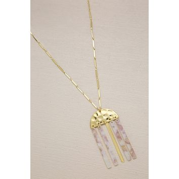 Golden Goddess Geometric Pendant Necklace with Taupe Resin Bars