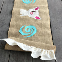 Moana Birthday party Moana Birthday Decorations pua the pig disney kitchen table runner burlap table runner, mother's day gift, gift for mom