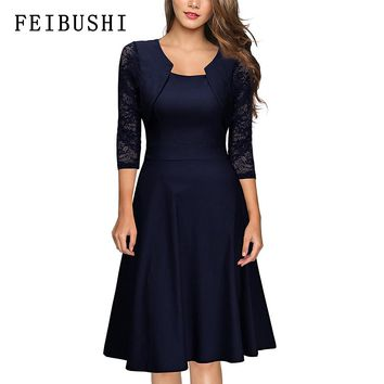 FEIBUSHI Women Elegant Summer Lace Sleeve Tunic Pin Up Vintage Work Office Casual Party A Line Cocktail Swing Dress plus size