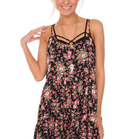 Brandy Floral Dress - Black