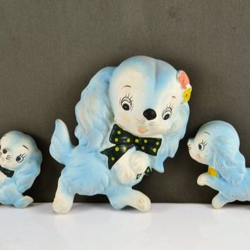 Chalkware Puppy Dogs Wall Hangers Set of 3 Mom Dog 2 Puppies Blue Nursery Vintage Mid Century Kitsch Cocker Spaniel