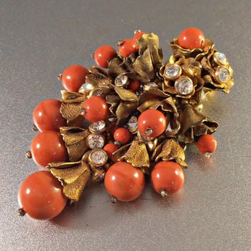Miriam Haskell Dress Clip, Rhinestone Rose Montee, Pate de Verre Coral Glass Beads, Gilt Brass, Large 3.25""