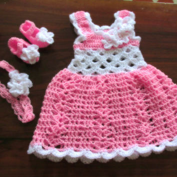 Crochet Baby dress ,  take me home dress,infant frock ,baby girl clothes ,newborn clothes ,outfit  first birthday clothes light pink white