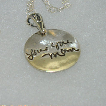Small Round Signature Memory Pendant -  Handwriting Jewelry in Sterling Silver