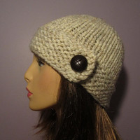 Knit Hat Cream White Hand Knit Hat with Genuine by UpNorthKnits