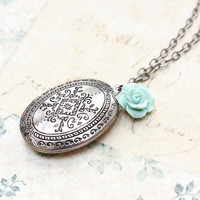 Oval Locket Necklace Antique Silver Aqua Blue Rose Charm Pendant Vintage Style Photo Locket Keepsake Jewellery Mementos Secret Hiding Place