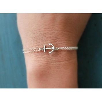 Dainty Silver or Gold Anchor Dual Layer Chain Bracelet