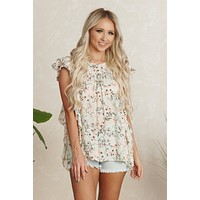 Dreaming Of Summer Floral Top (Off White Floral)