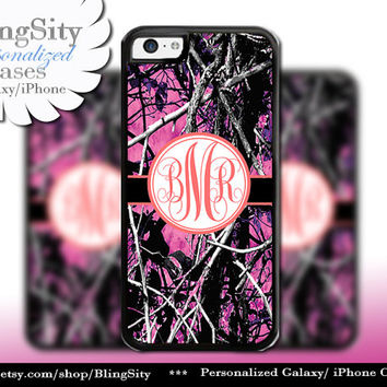 Camo Coral Monogram iPhone 5C 6 Plus Case iPhone 5s 4 case Ipod muddy Realtree Personalized Cover Country Inspired Girl