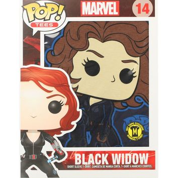 Licensed cool Funko POP! Tees Marvel Black Widow LADIES T-Shirt & Mini Standee Hot Topic NEW