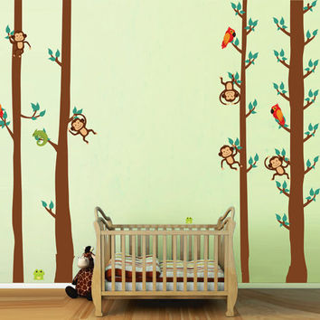 kcik1686 Full Color Wall decal bedroom children's room decor Custom Baby Nursery bed baby African animals monkey tree nusery decal
