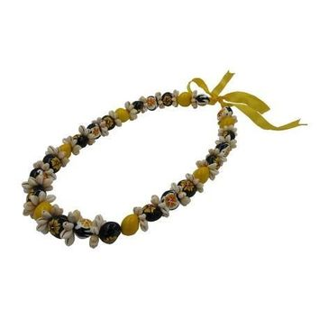 Cowrie Shell with Yellow Hibiscus Kukui Nut Lei