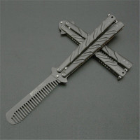 High Quality Practice BALISONG METAL BUTTERFLY Comb Steel Trainer Knife Tool