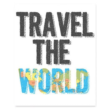 travel the world word art 8x10 print from ohsocraftydesigns on