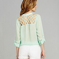 GB Sheer Lattice-Back Blouse | Dillards.com