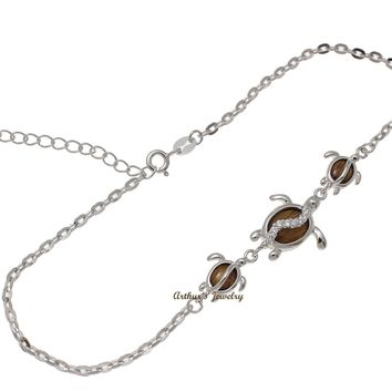"925 Sterling Silver Rhodium Hawaiian Koa Wood CZ Honu Turtle Anklet 9""+"