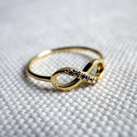 Infinity Ring in Gold promise together forever love knot friendship ring