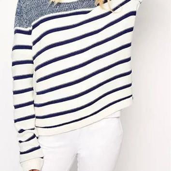 Boyfriend Sweater - Sailor Style Striped