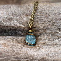 PETITE Zircon Necklace - Raw Stone Jewelry - Natural Gemstone Necklace - Blue Zircon Jewelry - Blue Gemstone Jewelry - Rough Stone Necklace