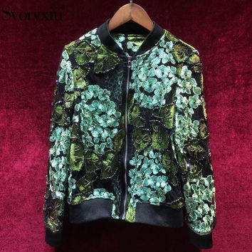 Trendy Svoryxiu Fashion Designer Autumn Mesh Coat Jackets Women's High Quality Beading Green Floral Embroidery Slim Tops Jackets AT_94_13