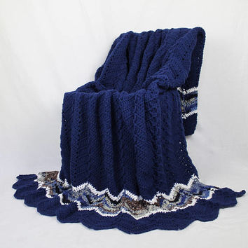 Navy Blue Ripple Afghan - Handmade Crochet Blanket - Navy Blue with Coordinating Multi - Full Size Bed Cover