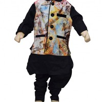 Smart Black Designer Traditional Kurta Pajama with Jacket for Children