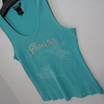 Guess Log Blue Tank Top Swarovski Crystals Spell the Logo Authentic Guess Jeans Label