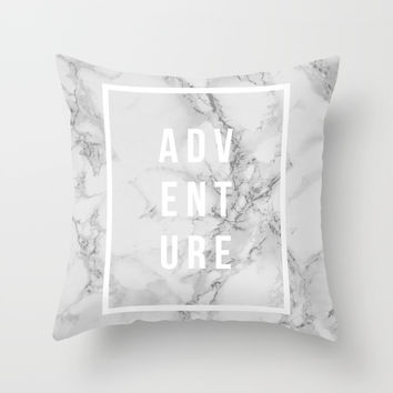 ADVENTURE on Marble Throw Pillow by Inspire Your Art