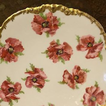 c1920 Vintage Hand Painted Scalloped J.P.L Limoges Gold Gilded Rose Lunch Plate