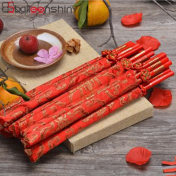 BalleenShiny Chinese knot Red Wood Chopsticks Handmade Food Stick for Sushi Hashi Chop Sticks Tableware as Christmas Gifts