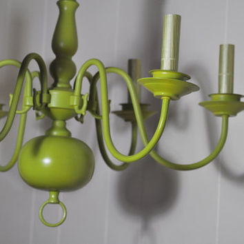 Brilliant Green Chandelier Painted Vintage by TheVelvetBranch