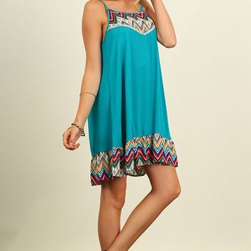 Bright and Colorful Ruffle Hem Print Dress