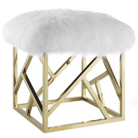 Intersperse Genuine Sheepskin Ottoman Gold Stainless Steel