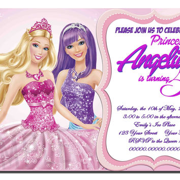 Barbie Princess Charm School Birthday Invitation, Barbie Birthday Invitation PERSONALIZED Kids Birthday Invitation Party Design