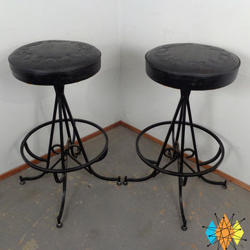 Mid-Century Iron Wrought Bar Stools