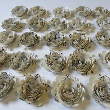24 Scalloped Sheet Music Paper Flowers, Small 1.5 Inch Roses, Band Room Decorations, Music Theme Party
