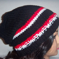 Slouchy Beanie Hat, Mens Black, Red, and White, Mens Accessories Hat