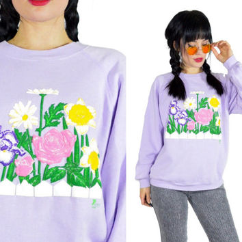 vintage 90s pastel lilac sweatshirt floral puffy print pullover sweatershirt cotton blend pastel grunge kawaii cute sweater medium