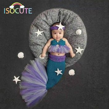 Elegant Lace Mermaid Newborn Baby Photography Props Infant Handmade Outfits Crochet Knit Costume Set New Born Photo Accessories