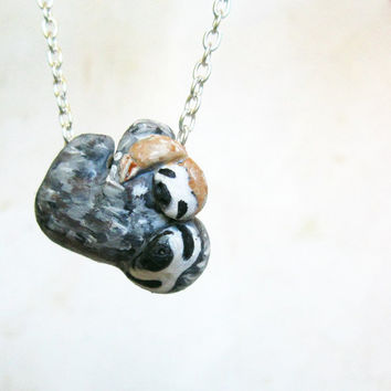 Mama and baby sloth necklace, Gift for new mom